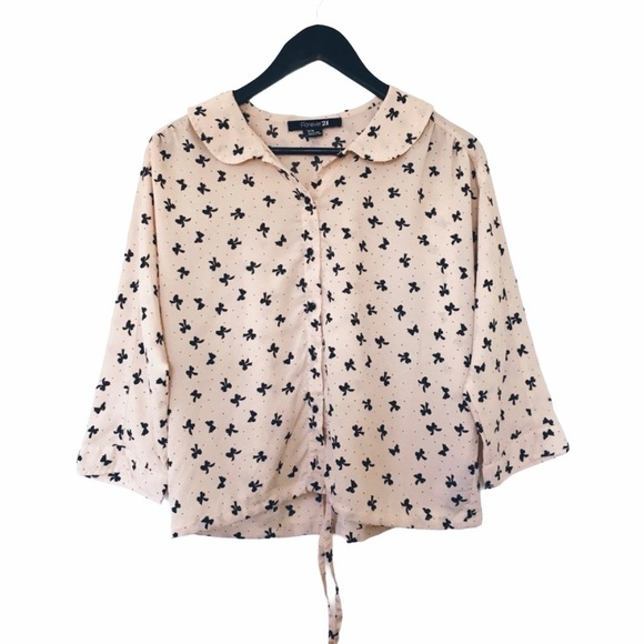 3/$25 Forever 21 Pink Black Bow Pattern Blouse